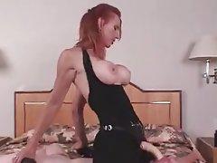 Blonde, Femme dominatrice, Ejac, Gode ceinture