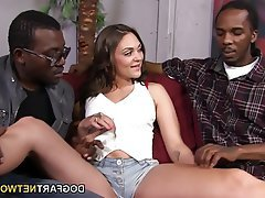 Blowjob, Brunette, Creampie, Interracial