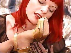 Lesbian, Redhead, Foot Fetish, Pantyhose