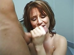 Blowjob, Facial, Brunette, Handjob