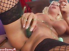 Big Boobs, Blonde, Masturbation, Nerd
