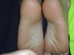 Nerd, Cumshot, Foot Fetish, Footjob
