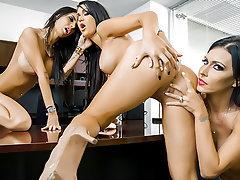 Lesbian, Big Boobs, Ass Licking, Dildo