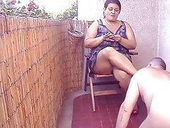 Donne ciccione, Affrontare Seduta, Donna dominante, Indiano