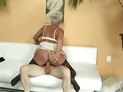 Big Boobs, Blonde, Cumshot, Granny