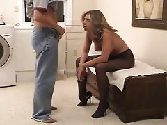 Amateur, Blondine, Blowjob, Strümpfe