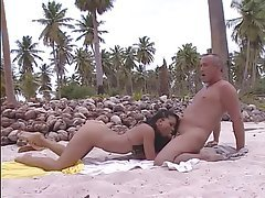 Beach, Blowjob, Brunette, Facial