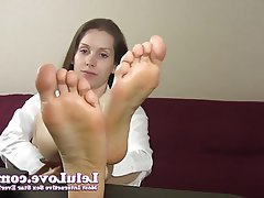 Brunette, Close Up, Foot Fetish, POV