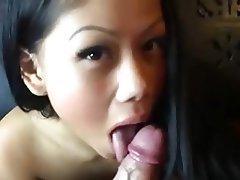 Asian, Blowjob, Brunette, Handjob